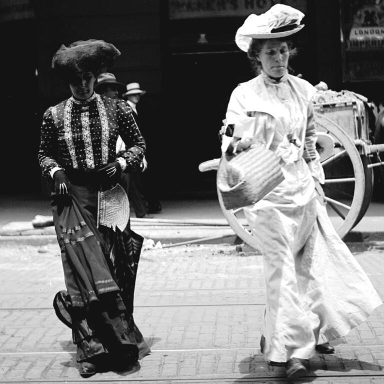 Women on Sydney street, ca. 1900, glass negative by Frederick Danvers Power.