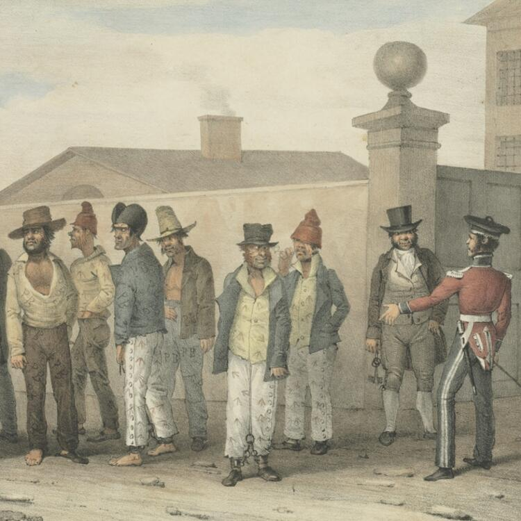Lithograph drawing of a group of men standing and lined up in various attire in 1830 they are in a government jail gang