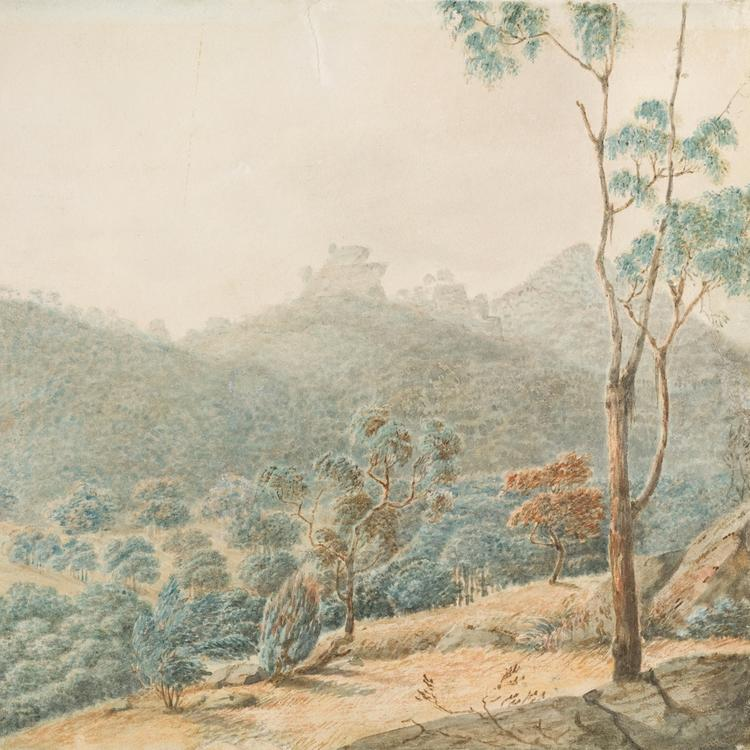 Painting of mountains and trees and shrubbry