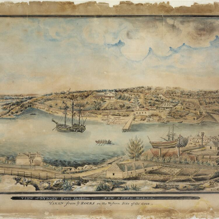 Depiction of Port Jackson, Sydney taken from the Rocks circa 1803 with boats in the harbour