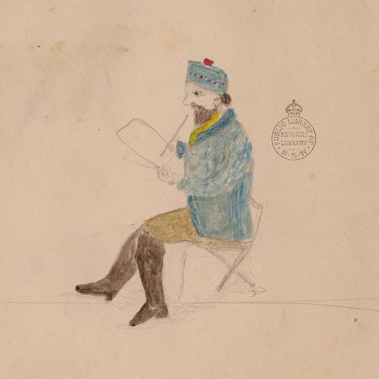 Sketch of man drawing