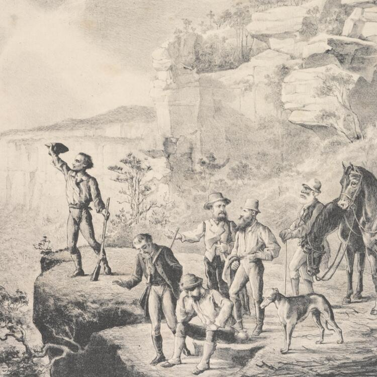 The Blue Mountain pioneers, lithograph by M. Emile Ulm, Sydney Mail, 1880, SLNSW SPF/1396