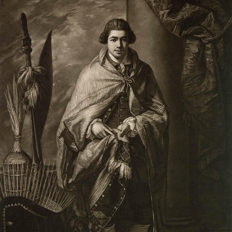 A portrait of the young Joseph Banks in cloak