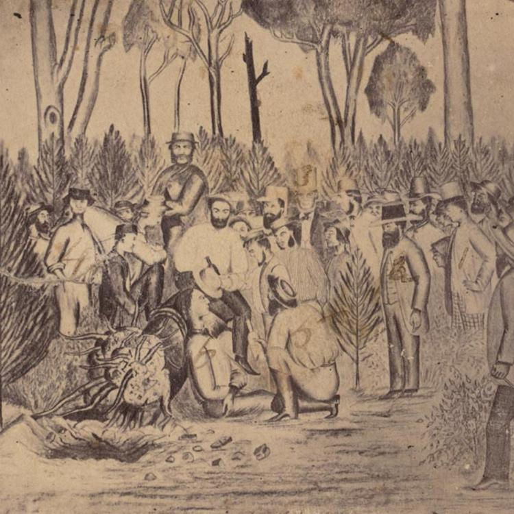 Watercolour of bushranger being captured with group of men surrounding him and one on a horse