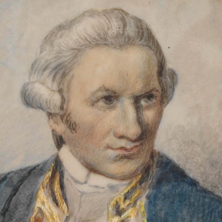 Watercolour portrait of Captain James Cook