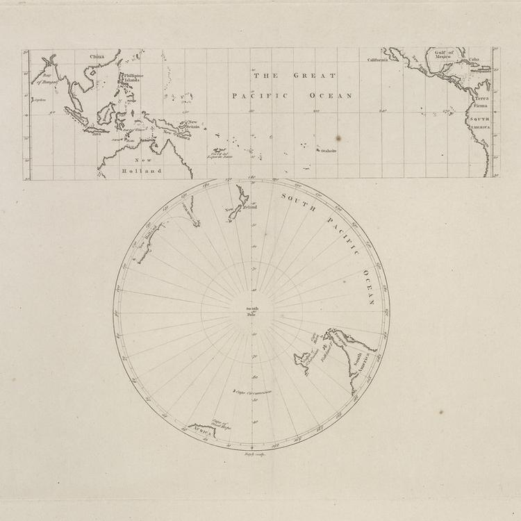 Old map of the Great Pacific Ocean with words a chart of the Great Pacific Ocean as desribed by Mr Banks and Dr Solander in the year 1772