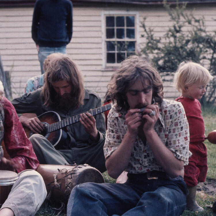 Group of musicians gathered in Nimbin