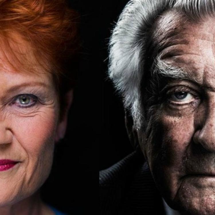 closeup head shot of Pauline Hanson and Bob Hawke