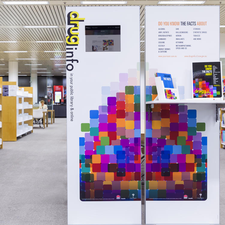 Library display unit for drugs and alcohol information