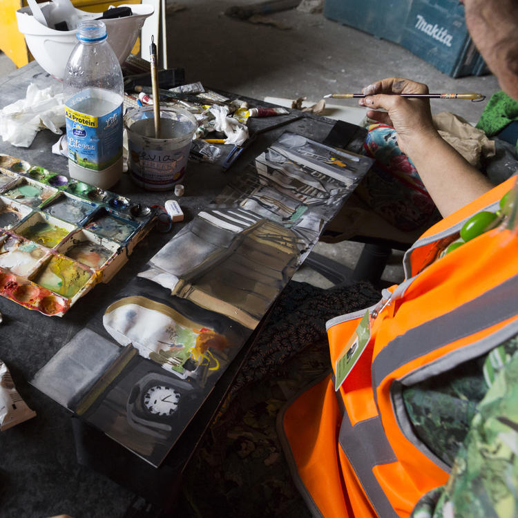 Wendy Sharpe, artists in residence working behind-the-scenes