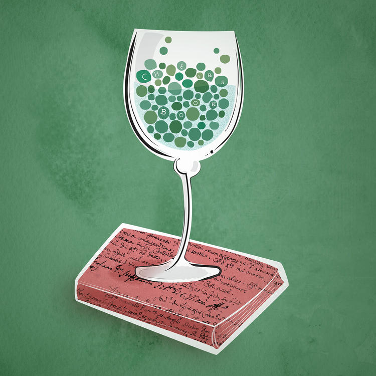 Illustration of peas in a wineglass, on a book.