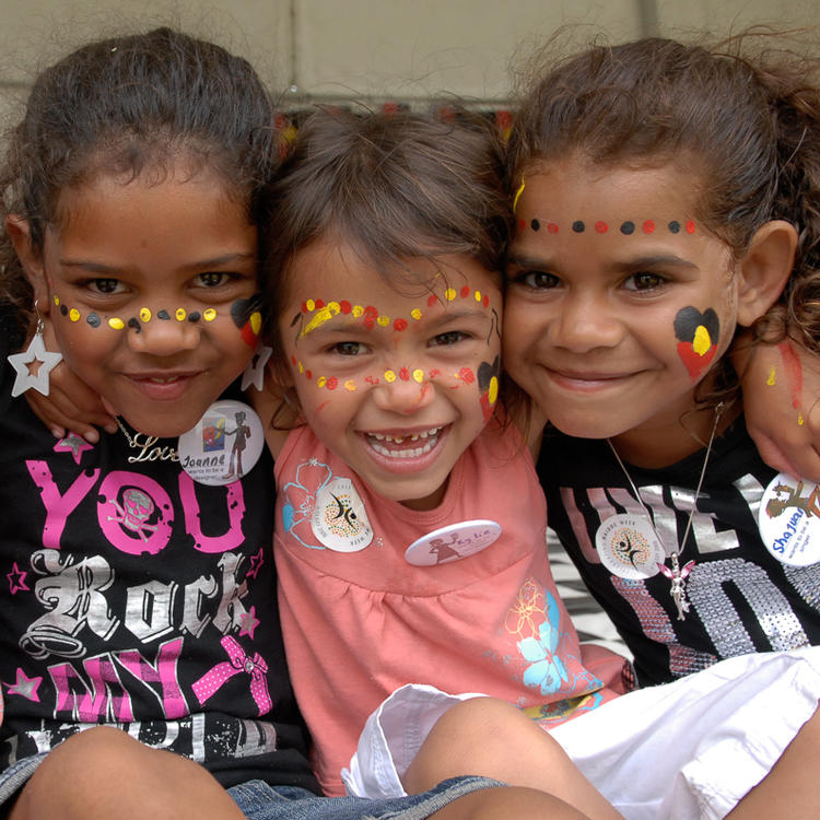Kids at the Vibe Alive stage with faces painted up. Yabun. (formally Survival Day) Victoria Park, Sydney. Monday 26th January, 2009