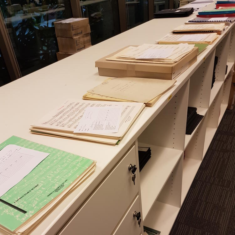 showing sorting desks in the Queensland Symphony Orchestra Library, Brisbane