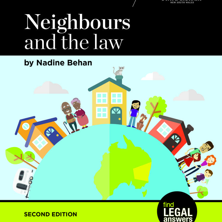 Cover image of Neighbours and the law, graphic image of people and houses