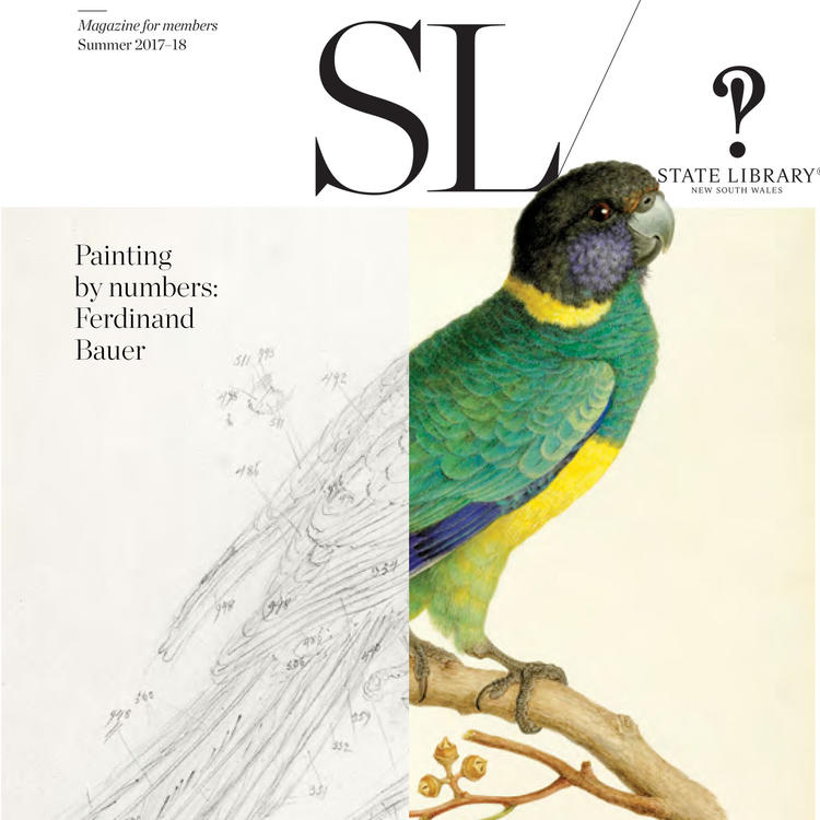 Front cover of SL magazine, summer 2017 issue, featuring drawing of bird