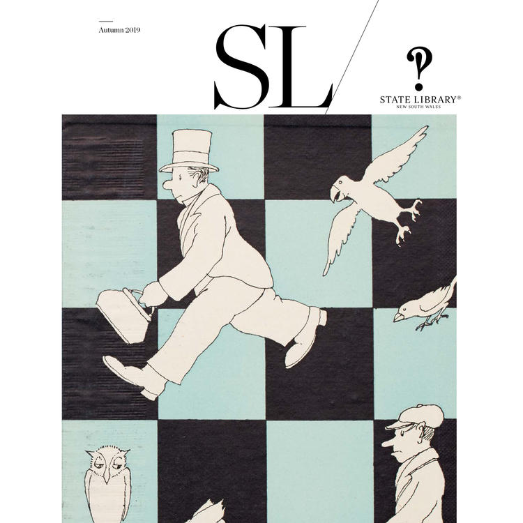 Magazine cover featuring an illustrated man with a briefcase on a checkerboard design.
