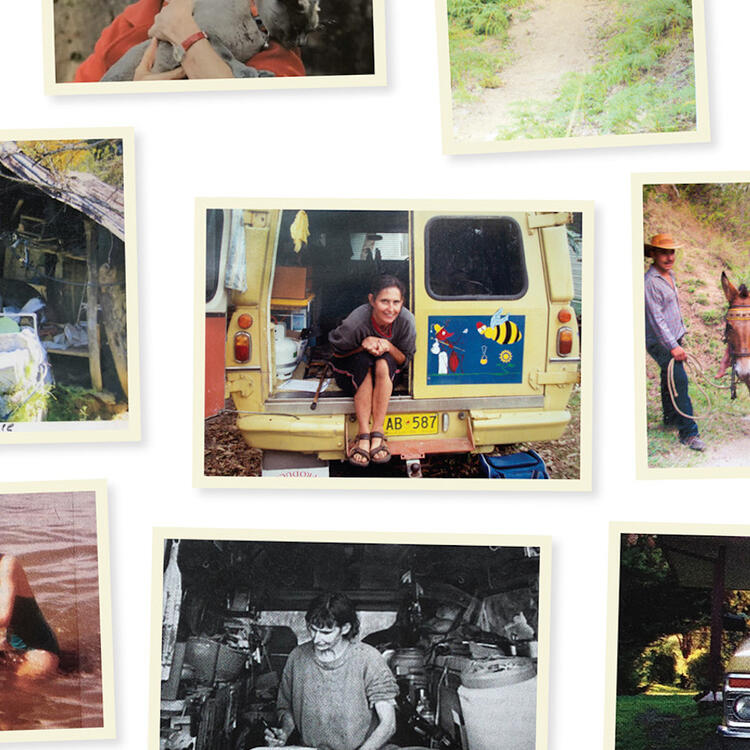 Photographs from Gillian Mears' albums in the Library collection, c 1978–2015, including her time in 'Ant and Bee' and Venezuela