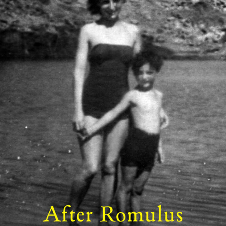 Woman and a child standing in swimwear at the beach on cover of After Romulus by Raimond Gaita