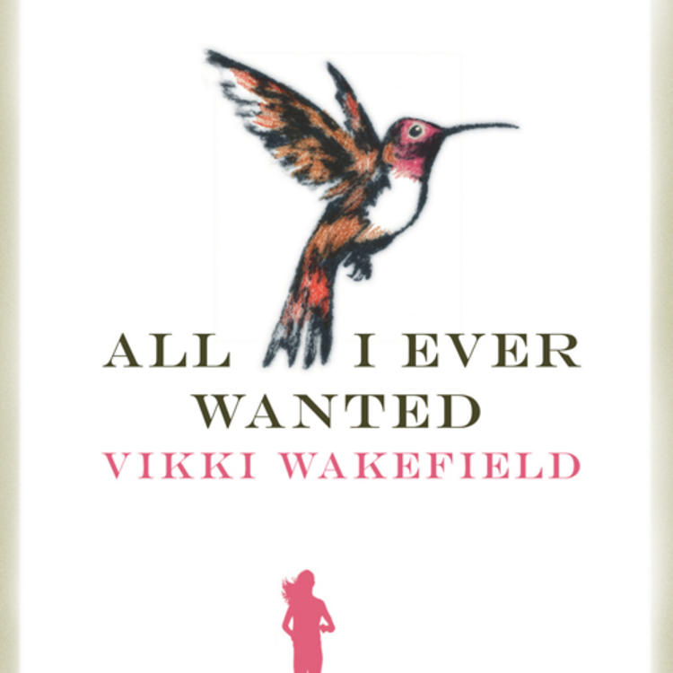 Train tracks and drawing of woman running along it with a bird above on cover of All I ever wanted by Vikki Wakefield