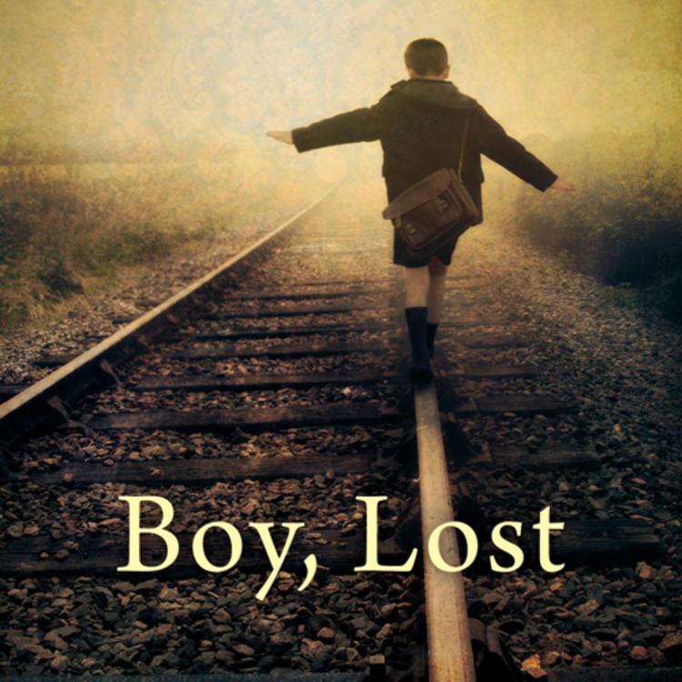 Boy walking along train tracks wearing a school bag on back on book cover of Boy, Lost by Kristina Olsson
