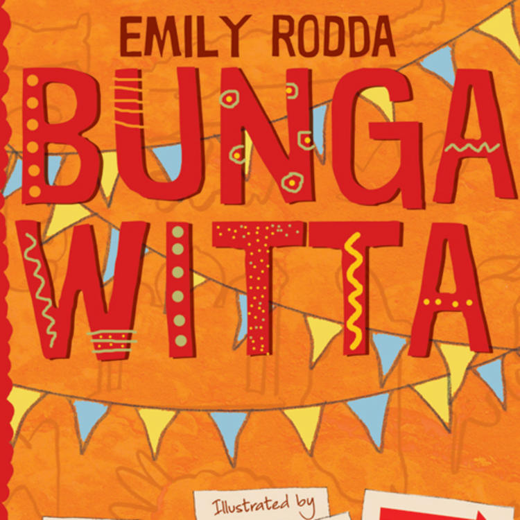 Drawing of people holding signs on book cover of Bungawitta by Emily Rodda