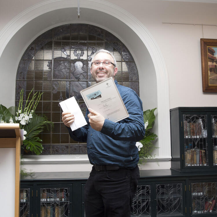 Bernard Cohen accepting Russell Prize