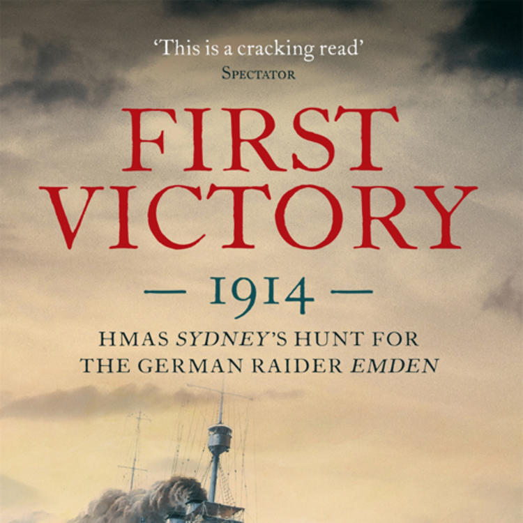 Painting of two battleships on fire on book cover of First Victory 1914 HMAS Sydney's Hunt for the German Raider Emden by Mike Carlton