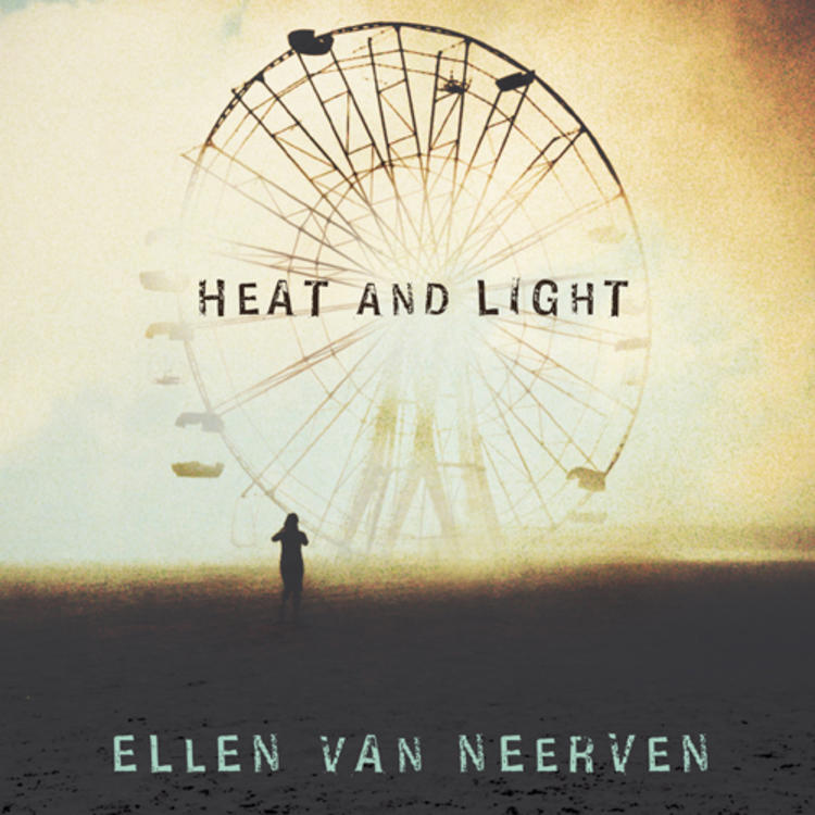 Person standing in front of a ferris wheel on book cover of Heat and Light by Ellen Van Neerven