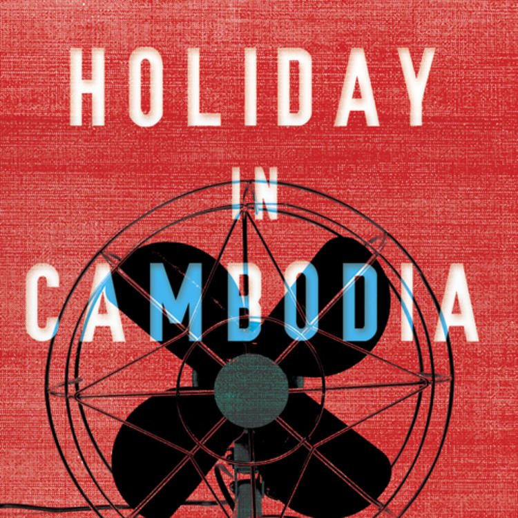 Old standing fan on book cover of Holiday in Cambodia by Laura Jean McKay