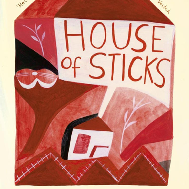 Painting of a house on book cover of House of Sticks by Peggy Frew