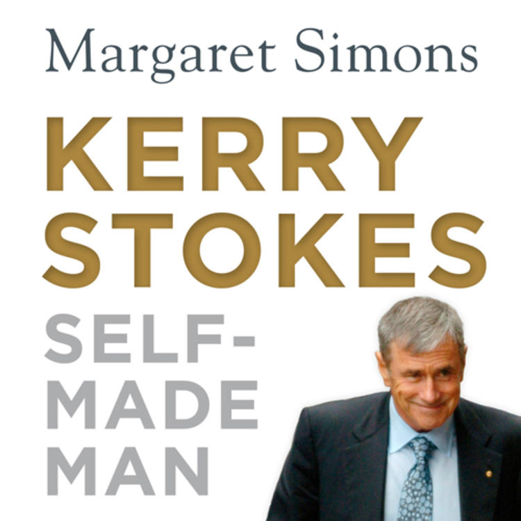 Australian businessman Kerry Stokes AC on book cover of Kerry Stokes - Self made man by Margaret Simons