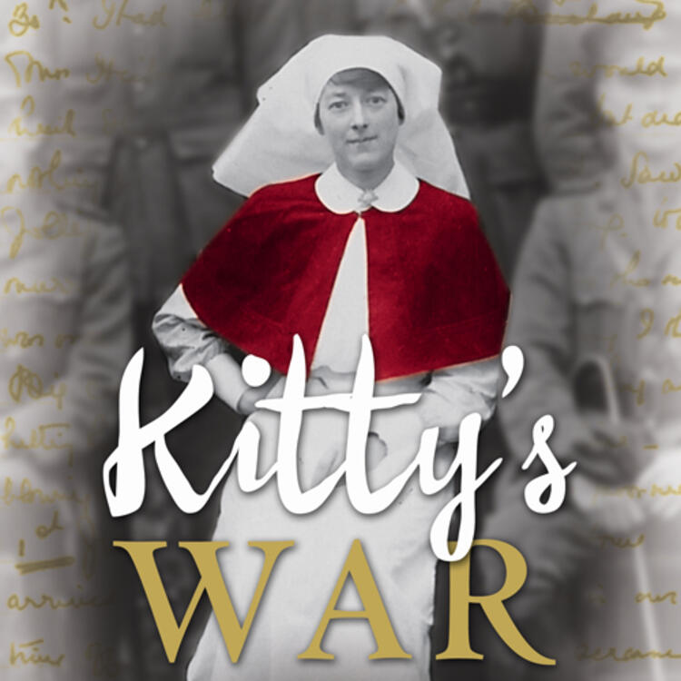 Woman sitting in World War 1 nurses uniform for book cover of Kitty's War by Janet Butler