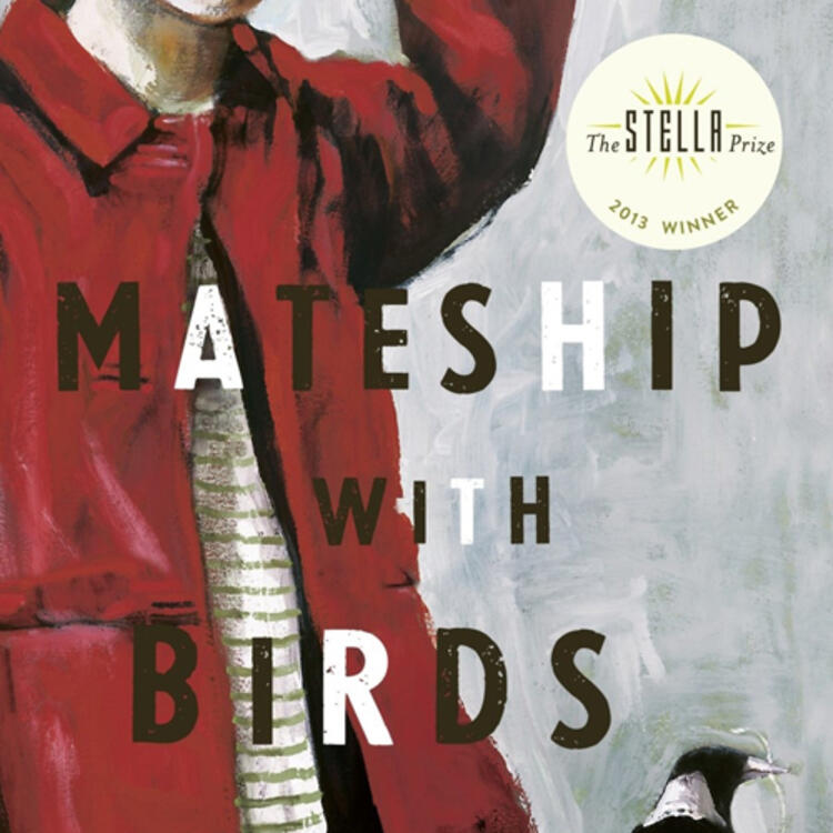 Painting of woman with a bird (magpie) holding string in it's mouth for bookcover on Mateship with Birds by Carrie Tiffany