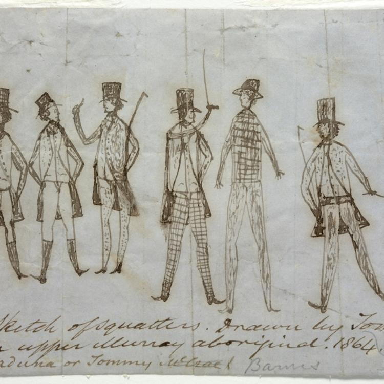 Drawing of 6 men