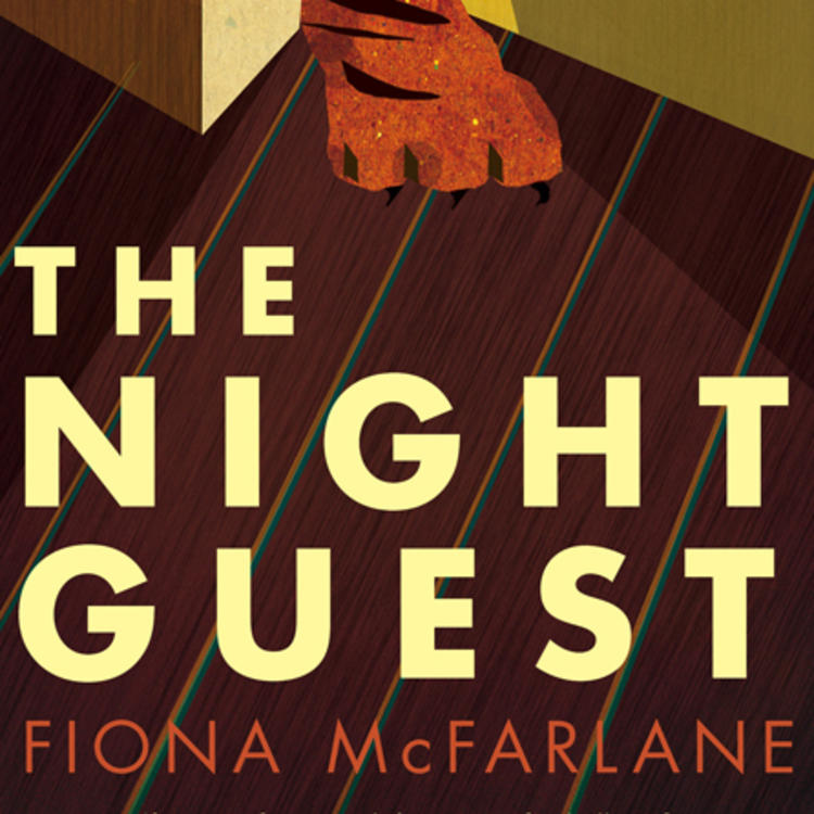 Painting of a tigers paw stepping through a door on book cover of the Night Guest by Fiona McFarlane