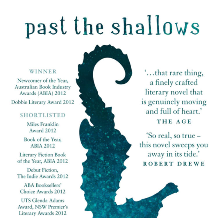 Upside down painting of a seahorse on book cover of Past the Shallows by Favel Parrett