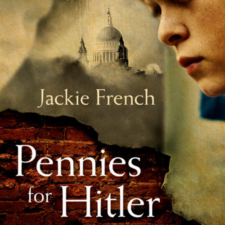 Boy with hand on forehead and a old building behind him on book cover of Pennies for Hitler by Jackie French