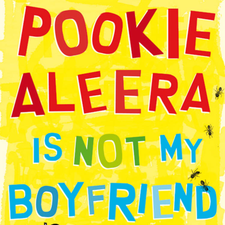 Drawing of apple core and ants on book cover of Pookie Aleera is not my boyfriend by Steven Herrick