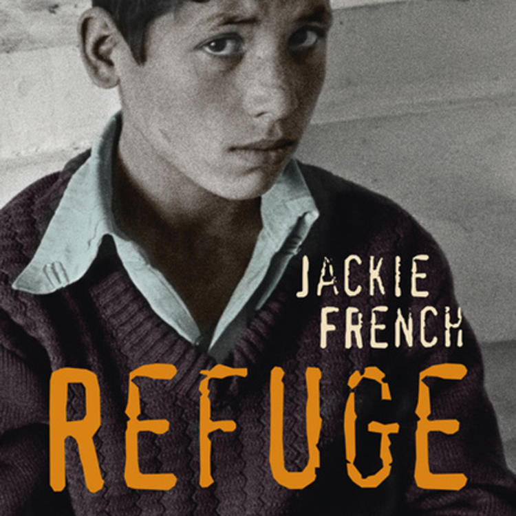 Boy sitting down wearing a a jumper on book cover of Refuge by Jackie French