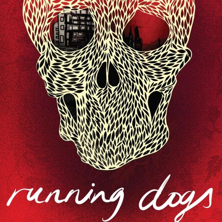 Drawing of a skull on book cover of Running Dogs by Ruby J.Murray