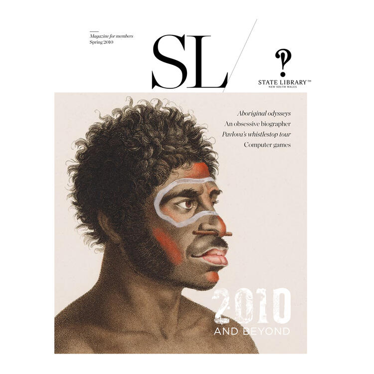 Drawing of Indigenous man with face painted on cover of 2010 New South Wales State Library Magazine