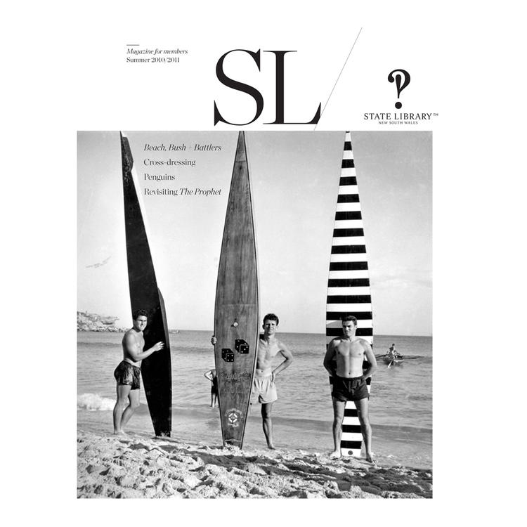 3 men standing and holding their surf boards on beachfront on cover of Summer 2009-2010 New South Wales State Library Magazine