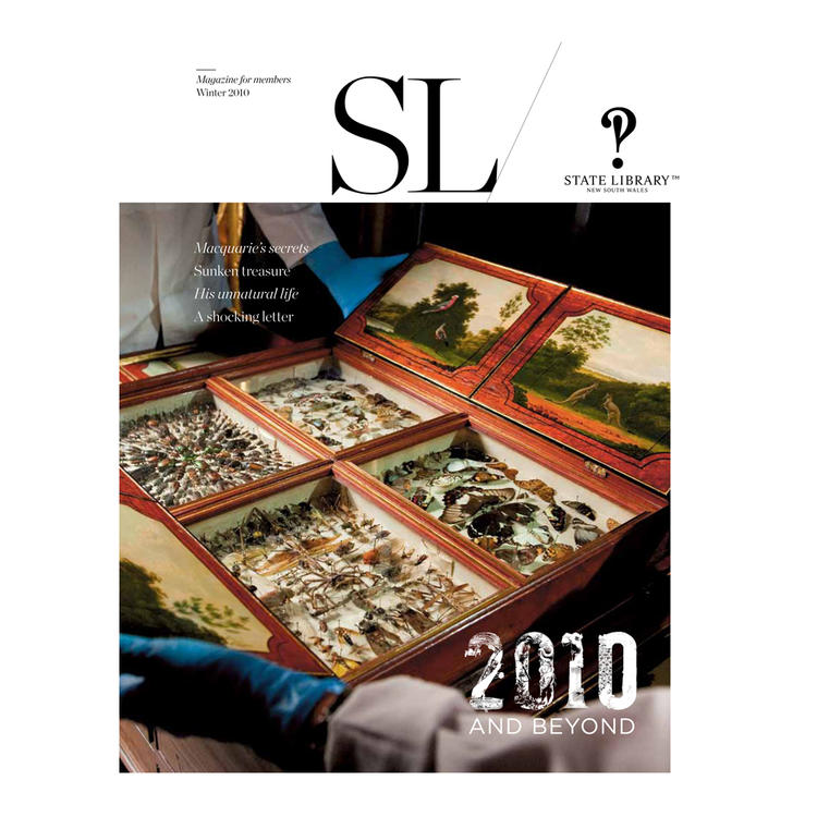 Specimen tray with beetles, insects and butterflies on cover of Winter 2010 New South Wales State Library Magazine