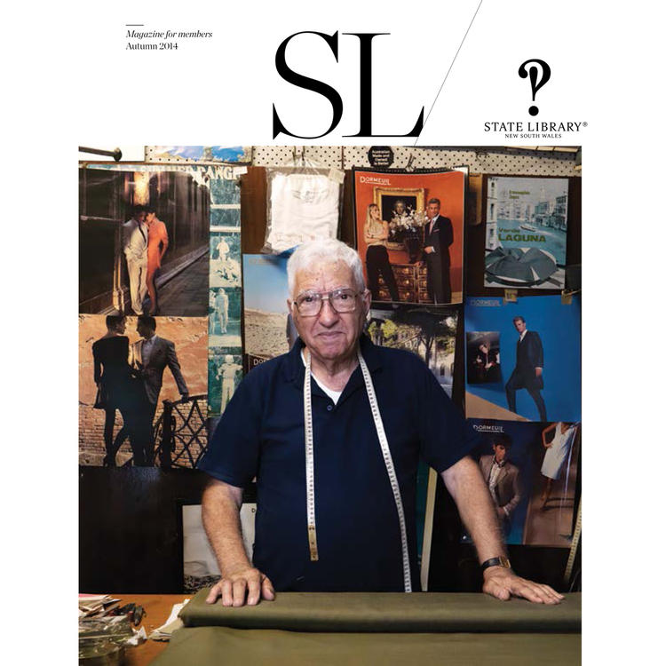 Man standing with measuring tape and roll of cloth layed out on cover of Autumn 2014 New South Wales State Library Magazine