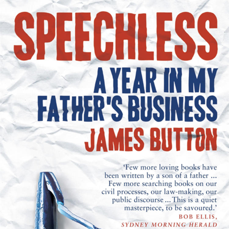 Crumpled paper and chewed on pen on book cover of Speechless A Year in My Father's Business by James Button