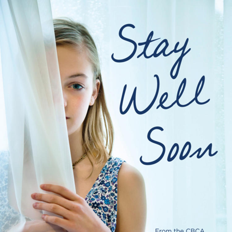 Girl holding a curtain in hands on book cover of Stay Well Soon by Penny Tangey