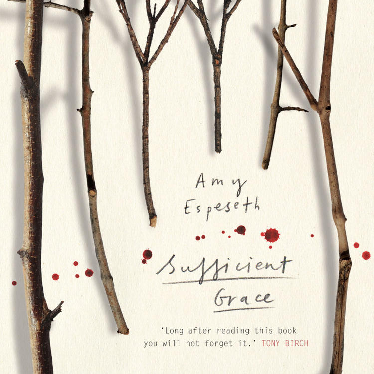 Trees without leaves and spots of blood on book cover of Sufficient Grace by Amy Espeseth