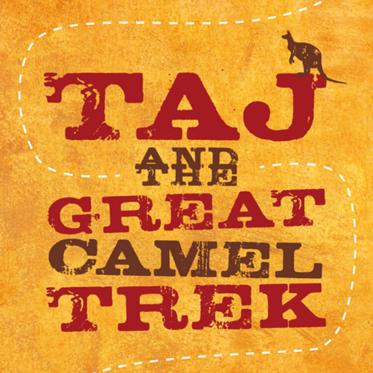 Drawing of a kangaroo and row of camels on book cover of Taj and the Great Camel trek by Rosanne Hawke