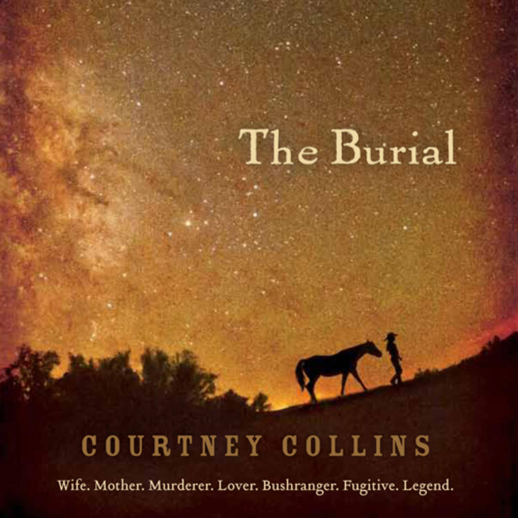 Person walking horse on a hill with sky full of stars on book coer of The Burial by Courtney Collins