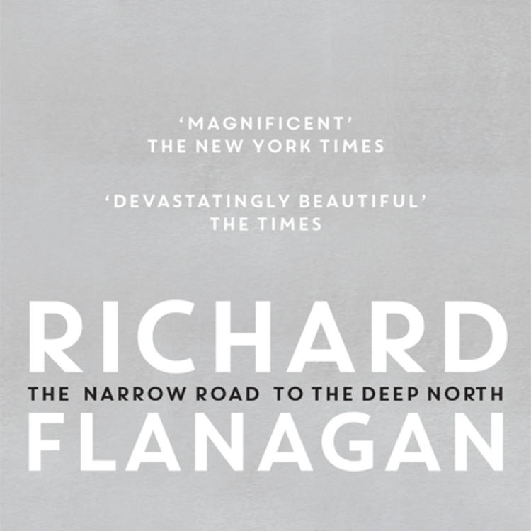 Large flower on book cover of The Narrow Road to the Deep North by Richard Flanagan